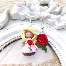 Orecchini Chibi Aurora ~ Cute Disney Earrings Fimo Polymer Clay Kawaii Tiny Rosa