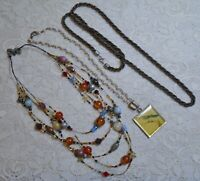 VINTAGE TO NOW ASSORTED MULTI STRAND GLASS & LUCITE BEADED PENDANT NECKLACE LOT