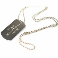 Personalised Metal Military Army Dog Tags ID Tag & Necklace, Engraved Gift