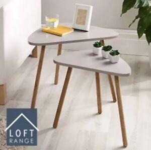 NEW HOME DECOR BEDROOM MINK SIDE COFFE ACTIVITY LOFT NESTING TABLE SET OF 2
