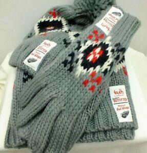 Detroit Red Wings NHL Hockey - Scarf warmer - Gloves & knit Beanie, 3 piece set