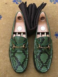 Gucci Mens Shoes Green Leather Snakeskin Horsebit Loafer UK 9.5 US 10.5 43+ 1953