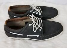 Aldo Mens Lace Up Boat Shoes Preppy Gray Canvas Faux Leather Size 12M