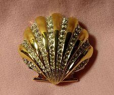 Gorgeous Swarovski Designer Signed (Swan) Crystal Scallop Shell Brooch Pin