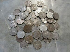 50 Circulated Steel Lincoln Wheat Pennies