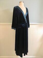 Size 22W Sandra Darren Teal Wrap Chest Velvet Velour Party Dress Women's Plus 2X