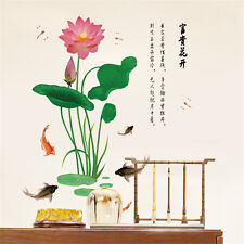 Chinese Lotus Fish Room Home Decor Removable Wall Stickers Decals Decorations