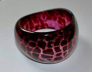 Vintage Black Pink Animal Print Glittering Lucite Bangle Bracelet