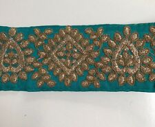 ATTRACTIVE INDIAN JADE RAW SILK ANTIQUE GOLD EMBROIDERY TRIM/LACE-One MTR