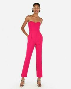 new EXPRESS r29 pick sweetheart neckline halter jumpsuit  6 HOT PINK