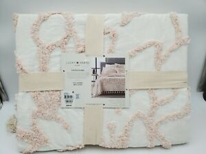 Lucky Brand Full/Queen Tufted Flora Blush Bed Cover Coverlet Bedspread