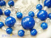 SIGNED EARLIER VINTAGE BEAUTIFUL LAPIS GLASS CRYSTAL BEADS On Chain NECKLACE