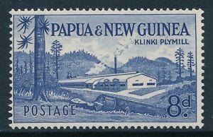 1958-1960 PAPUA NEW GUINEA 8d DEEP ULTRAMARINE (PLYMILL) FINE MINT MNH SG21