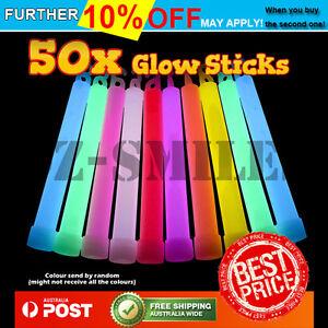 50 x 6 INCH MIXED GLOW STICKS W/LANYARD BULK PARTY RAVE LIGHT DISCO GLOW IN DARK