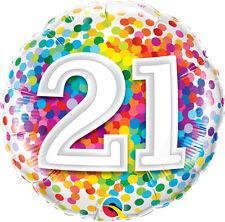 """21st BIRTHDAY PARTY SUPPLIES BALLOON 18"""" BIRTHDAY RAINBOW CONFETTI FOIL BALLOON"""