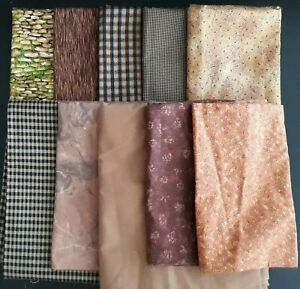 Coordinated Brown-Tone Assortment, Various Sizes, 10 Yards Total