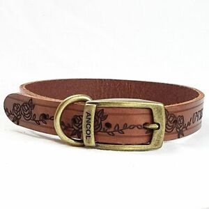 Personalised Custom Leather Dog Collar puppy design your own, plus A FREE GIFT