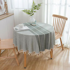 Round Cotton Linen Tablecloth Tassel Table Cloth Cover Dining Party Home Decor