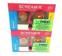 "2 Pack Blank Audio Cassette Tapes VTG Scotch 3M Scream ""R"" 45 min NOS 1990 NIP"