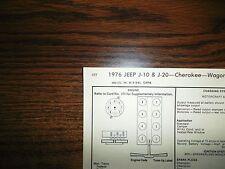 1976 JEEP EIGHT Series J-10 J-20 Cherokee Wagoneer 360 CI V8 4BBL Tune Up Chart