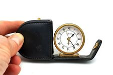 Vintage Vedette travel alarm clock in leather pouch. Untested