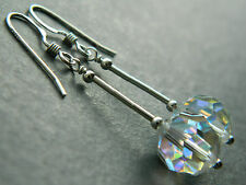 Annie's Visually Vintage ~ Aurora Borealis AB Crystal & Sterling Silver Earrings