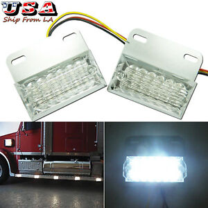 2x Pure White 12-LED Commercial Truck Jeep SUV Side Marker Indicator Lights Lamp