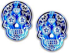 2 un. 70x55mm México día de los Muertos Azúcar Calavera Llama Azul Eléctrico Pegatina de Coche