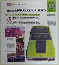 PLYMOUTH MUSCLE CARS IMP COLLECTOR BROCHURE SPECS 1962-1998 GROUP 9, NO 31