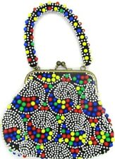 Evening Bag Multi Colored BEAD Beaded Clasp Closure Made in Hong Kong Vintage