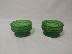Lot of (2) Vintage E.O. Brody Co. Green Textured Glass Candle Holders Footed USA