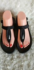 Fitflop Black Suede Strappy Thong Sandals Big Rhinestone Bead Shoes Size 8 Women