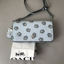NWT COACH 31679 DINKY WITH GLITTER ROSE PRINT MSRP $350 Light Blue