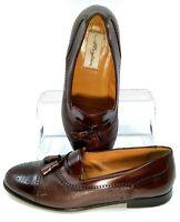 Mezlan Havana Loafers Men's 10.5 W Brown Cap Toe Brogue Tassel Dress Shoes Spain