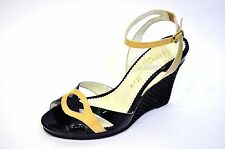 """Bettye Muller Italy Black Nude Patent Wedge 4"""" Heel Ankle Strap Shoes 37 ~6.5 -7"""