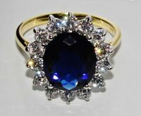 9ct Yellow Gold & Silver Blue Sapphire Princess Diana Large Cluster Ring size P