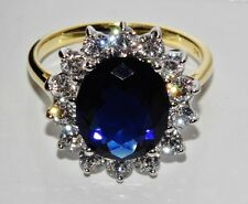 9ct Yellow Gold & Silver Blue Sapphire Princess Diana Large Cluster Ring size M