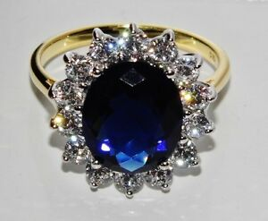9ct Yellow Gold & Silver Blue Sapphire Princess Diana Large Cluster Ring size K