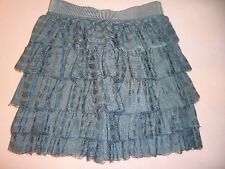 NEW Junior Woman's size 0 J. Crew Tiered Gray Lace Short Skirt