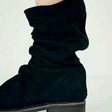Free People Evertte Slouch Boot Black Distressed Suede Sz 38 Comfort $228