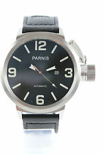 PARNIS Automatikuhr  50mm Datum Glasboden Lederarmband  Neuware