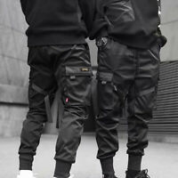 Men Cargo Pants Daily Ribbons Harem Joggers Harajuku Sweatpant Hip Hop Trousers