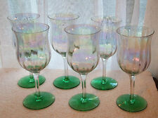 Six Tiffin Optic Pattern Stems with Iridescent Bowls and Green Bases