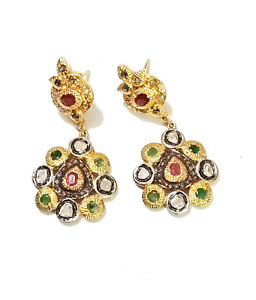 925 Sterling Silver Earring Natural Pave Polki Diamond Ruby Emerald Gems Earring