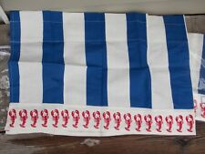 "RED LOBSTER VALANCE BLUE & WHITE STRIPE 17"" L X 50"" W 100% COTTON BRAND NEW"