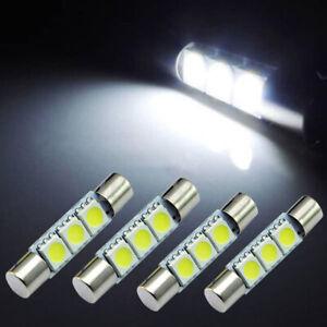 4* HID 3-SMD 31mm 6641 Fuse LED Bulbs Vanity Mirror Light Sun Visor Lamp White