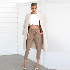 Women High Waisted Chiffon Harem Pants Elastic Waist Solid Casual Loose Trousers