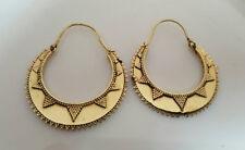 Fine Tribal Earrings Lotus Hoops Brass Ethnic Statement Boho Festival Gypsy G211