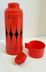 Vintage Aladdin's Vanguard Thermos Bottle No. 43C Quart Red & Black Diamond