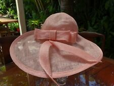 NERIDA WINTER Ladies Straw Wide Brim Hat Melbourne Cup Spring Races Pink Blush